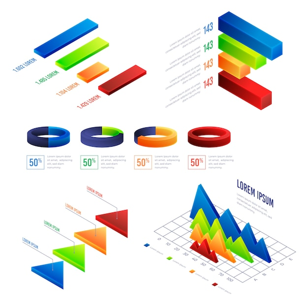 Colorful isometric infographic Free Vector