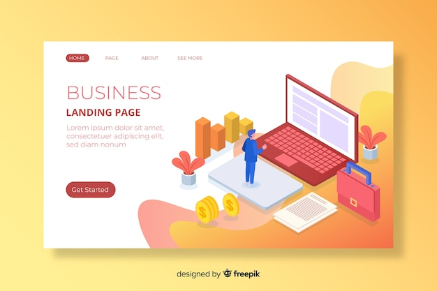 Colorful isometric marketing landing page Free Vector