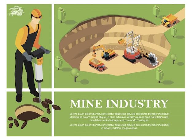 ハンマードリルを保持している鉱山労働者と採石場で鉱物を抽出する産業機械でカラフルな等尺性鉱業業界の構成 無料ベクター
