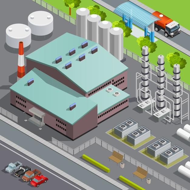 カラフルな等尺性石油精製所と輸送組成3 dベクトル図 無料ベクター