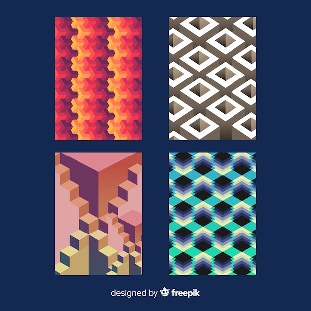 Colorful isometric pattern brochure pack Free Vector