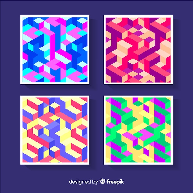 Colorful isometric pattern cover pack Free Vector