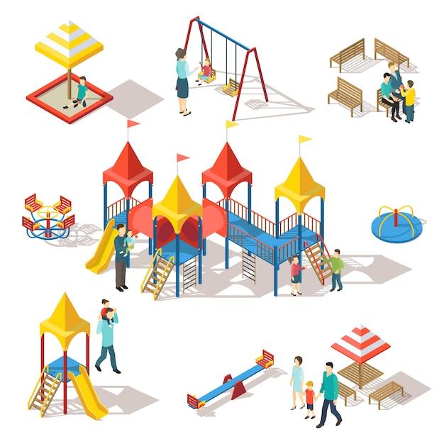 Набор красочных элементов изометрические детская площадка Бесплатные векторы