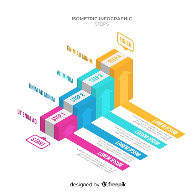 Colorful isometric stair infographics template Vector | Free Download