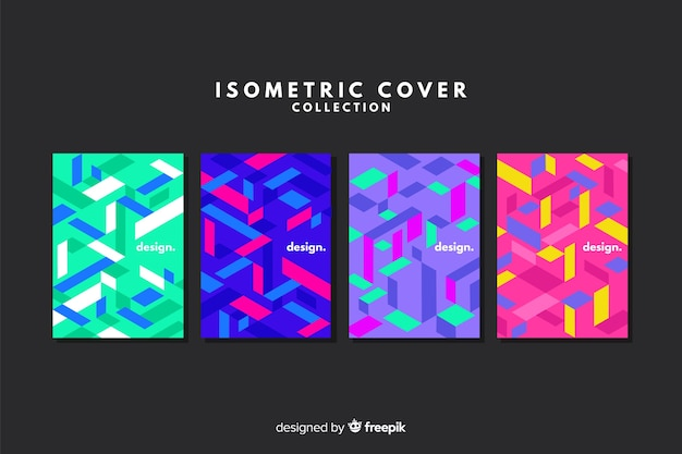 Colorful isometric style cover collection Free Vector