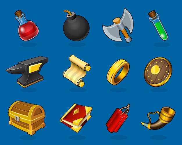 Коллекция красочных предметов Premium векторы
