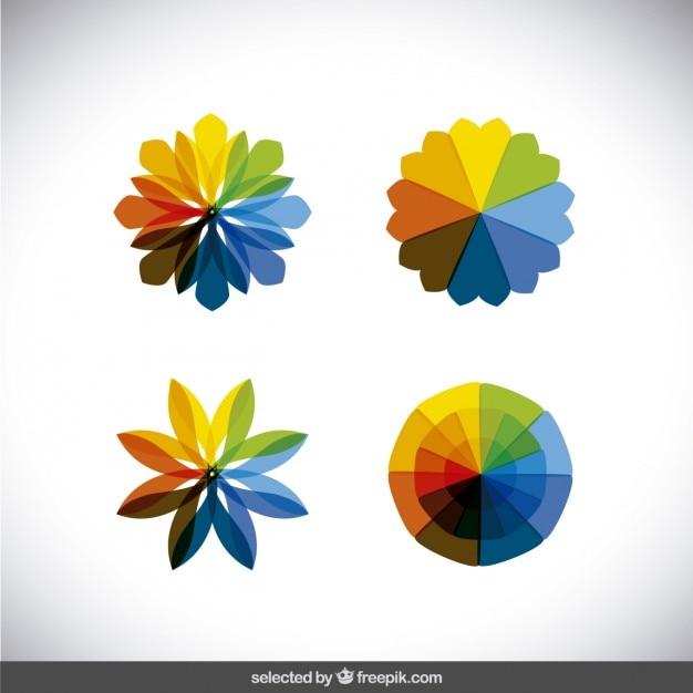 Caleidoscopio colorato forme di raccolta Vettore gratuito