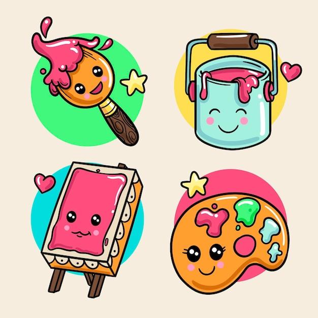 다채로운 귀엽다 창의력 컬렉션 무료 벡터