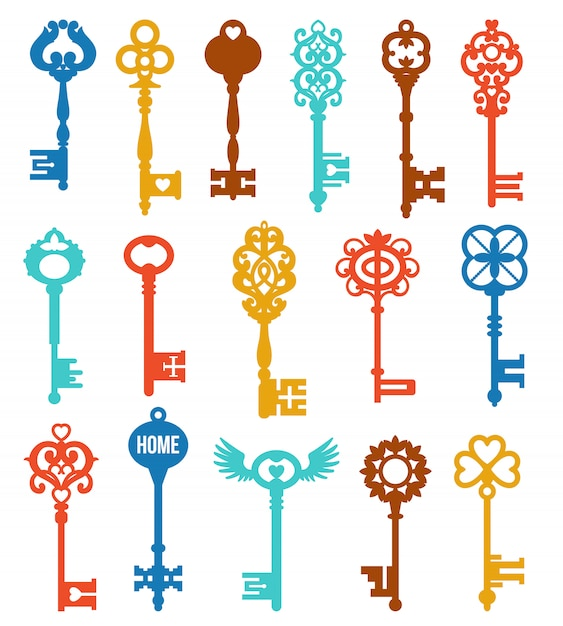 Colorful keys set Free Vector