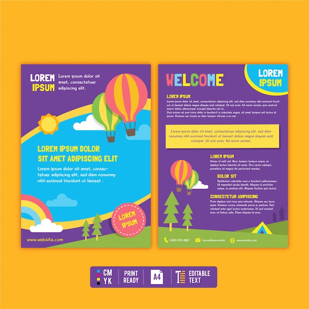 Colorful kid flyer and brochure template Premium Vector