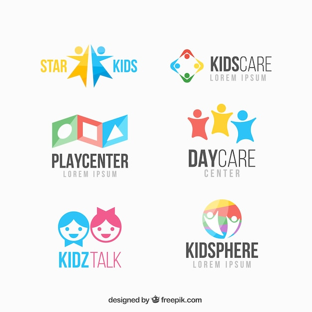 colorful kid logo collection vector free download