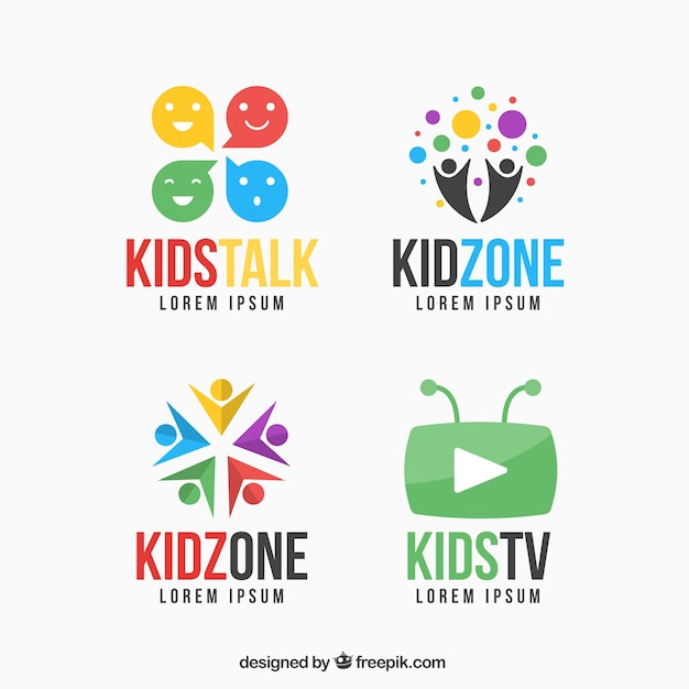 colorful kid logo set vector free download