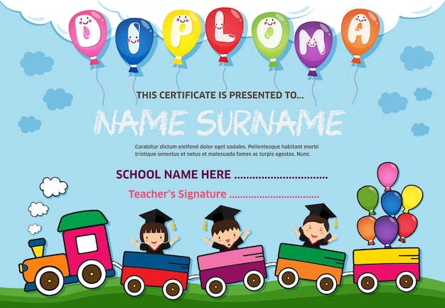 Colorful kids diploma certificate background design template vector premium download - Children s day images download ...