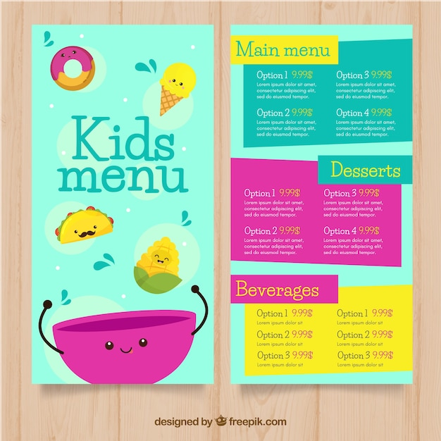 Colorful kids menu template Vector | Free Download