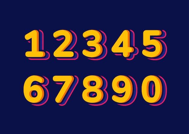 Colorful kids number set Premium Vector