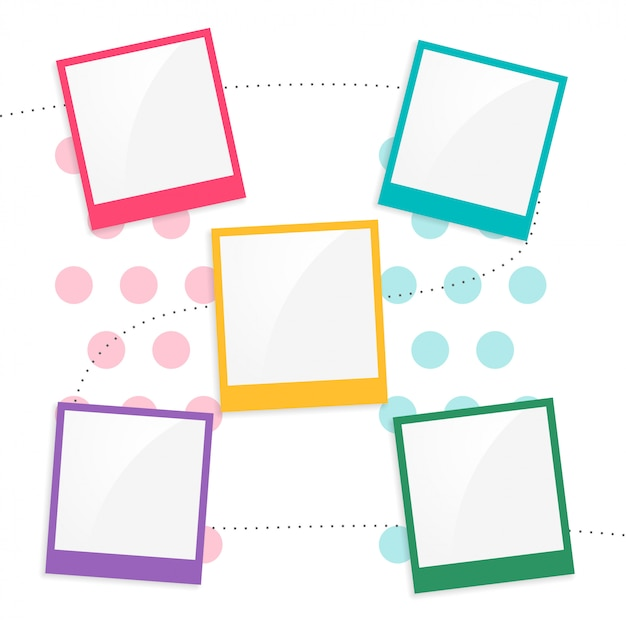 Colorful kids scrapbook page template Free Vector