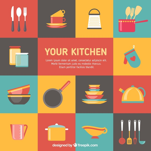 Colorful Kitchen Elements Vector