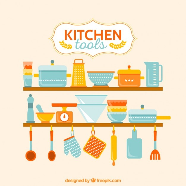 Colorful kitchen tools vector premium download for Colorful kitchen tools