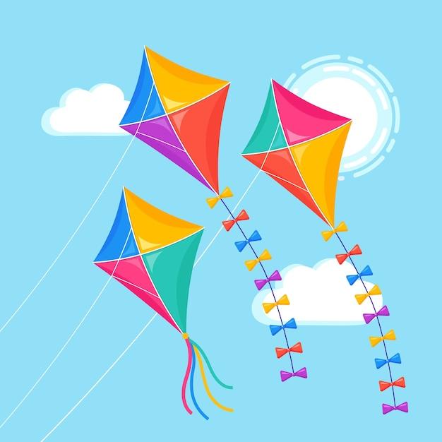 青い空、太陽を飛んでいるカラフルな凧。夏、春休み、子供用おもちゃ。 Premiumベクター