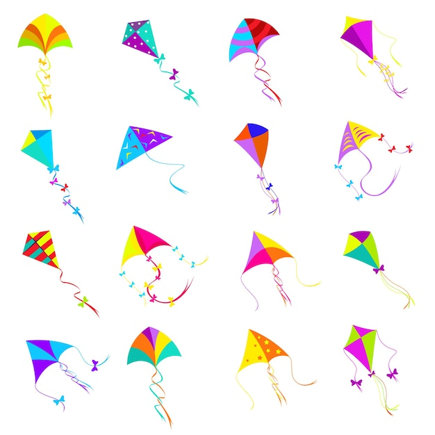Colorful kite set.toy design, object group for activity game, fly freedom Free Vector