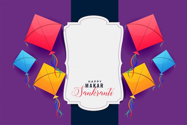 Colorful kites frame for makar sankranti festival Free Vector