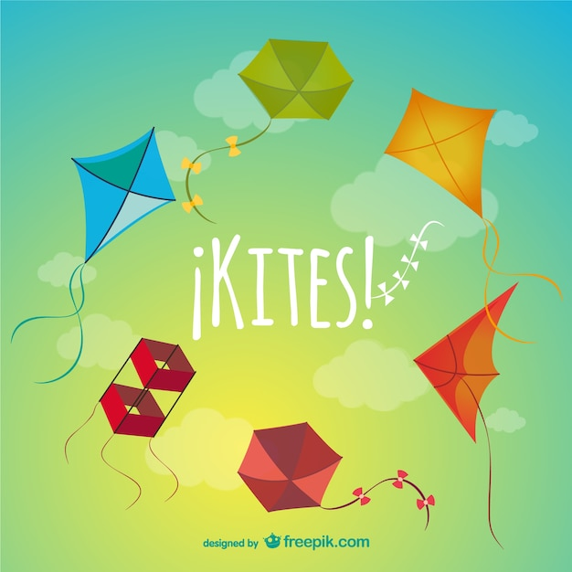 Colorful kites pack vector free download
