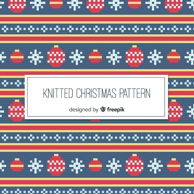 Colorful knitted christmas pattern collection Free Vector