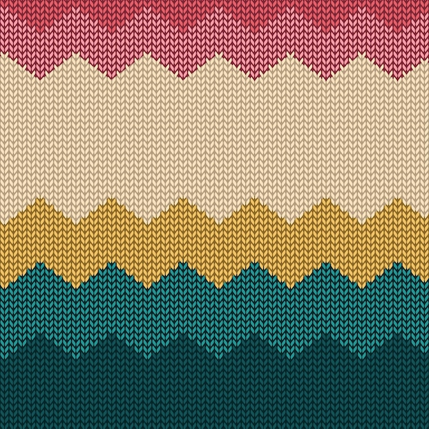 Colorful knitted seamless pattern background with simple shapes Premium Vector