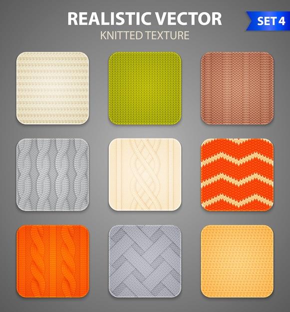 カラフルな編み物パターン9つのリアルな正方形のサンプル 無料ベクター