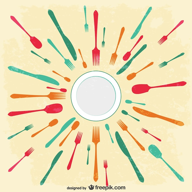 Colorful knives, forks and spoons Free Vector