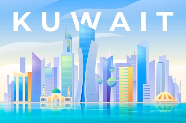 Красочный горизонт кувейта Бесплатные векторы