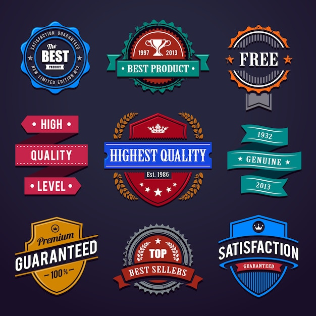 Colorful label collection Free Vector