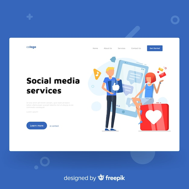 Colorful landing page template Free Vector