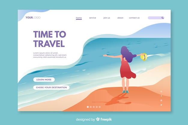 Colorful landing page for travelling enthusiasts Free Vector