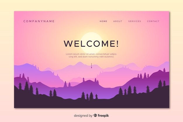 Colorful landing page with gradient landscape Free Vector