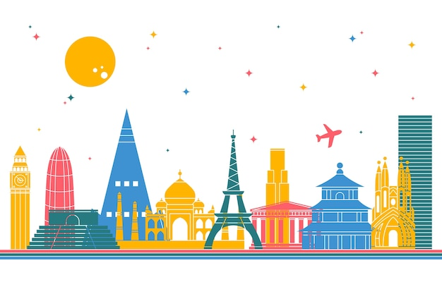 Colorful landmarks skyline concept Free Vector