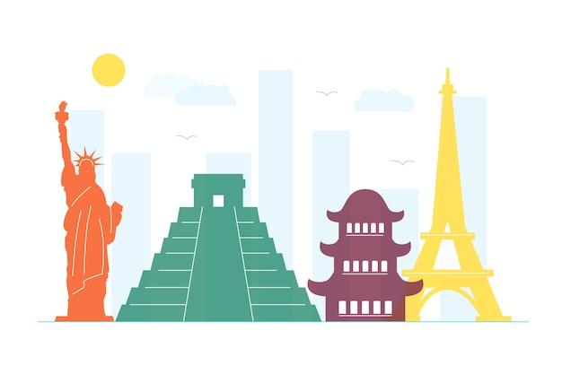 Concetto di skyline di punti di riferimento colorati Vettore gratuito
