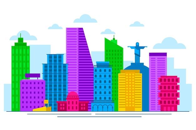 Colorful landmarks skyline concept Free Vector