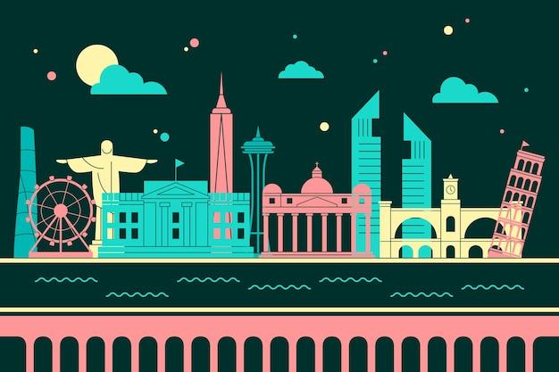 Colorful landmarks skyline design Free Vector