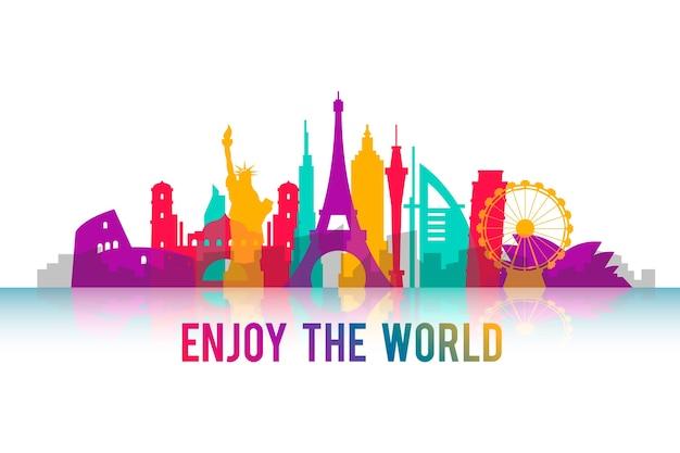 Colorful landmarks skyline theme Free Vector