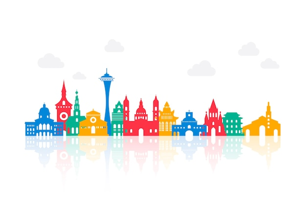 Colorful landmarks skyline Free Vector