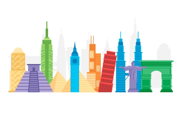 Colorful landmarks skyline Free Vector