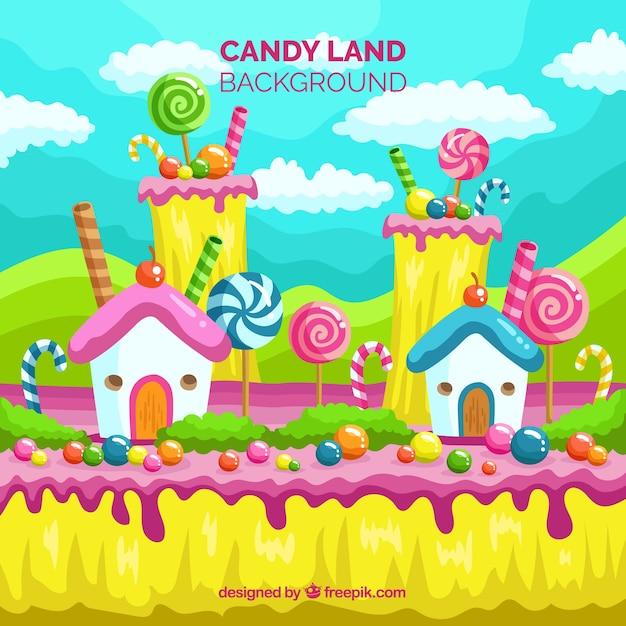 キャンディのカラフルな風景 無料ベクター