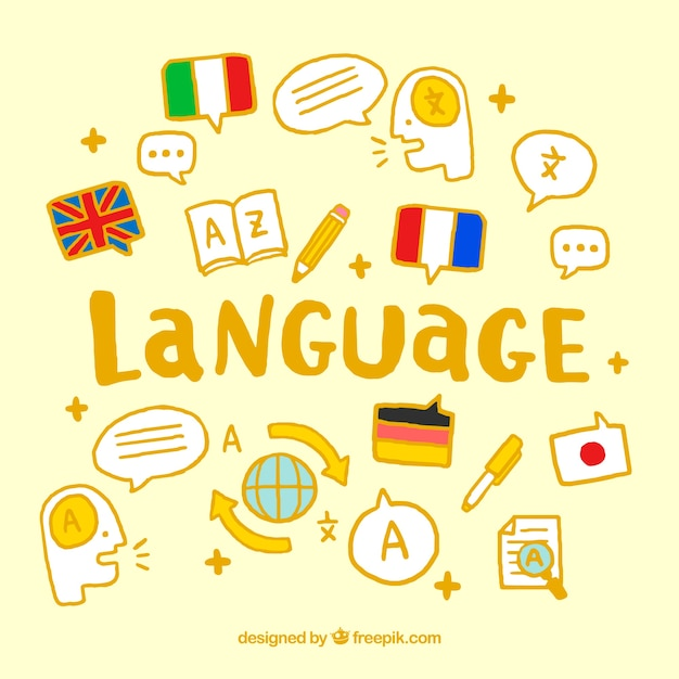 Colorful language concept with hand drawn style Free Vector