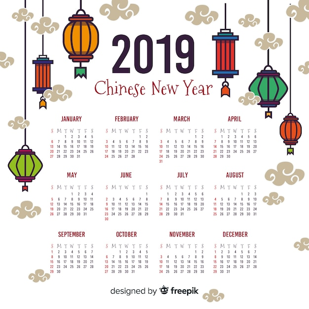 Colorful lanterns chinese new year calendar Free Vector