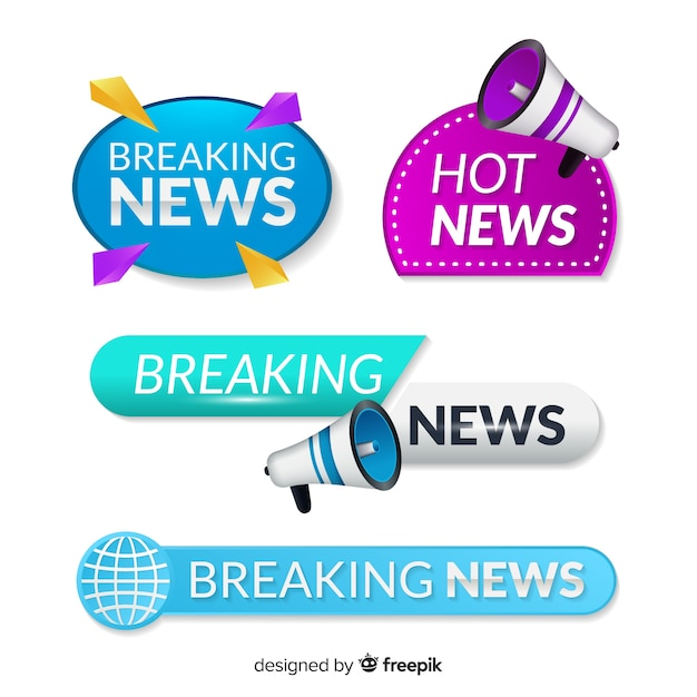 Colorful lastest news banner pack Free Vector