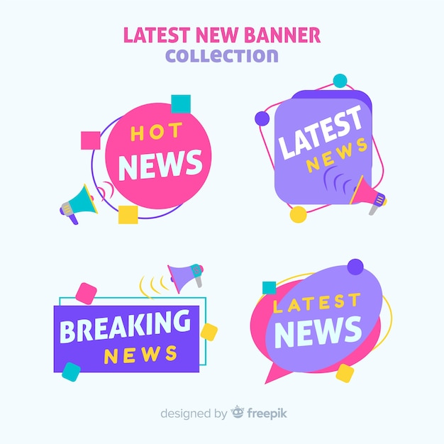 Colorful latest news banners collection Free Vector