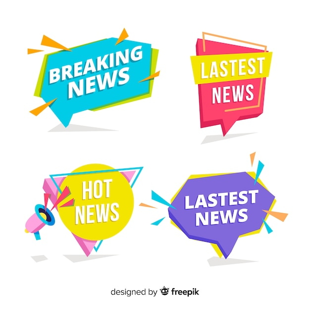 Colorful latest news banners Free Vector