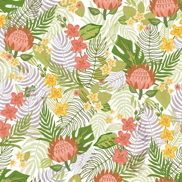 カラフルな葉とエキゾチックな花のパターン 無料ベクター