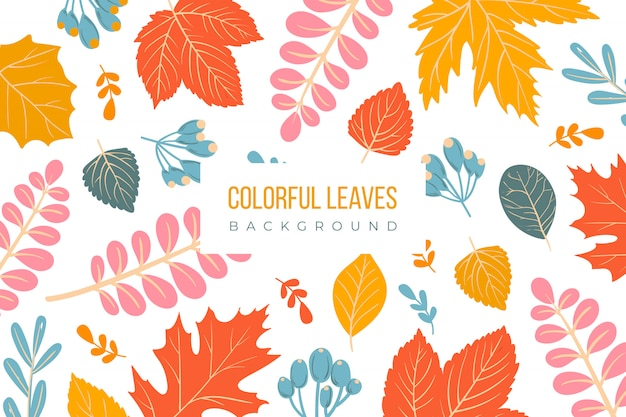 Colorful leaves background Free Vector
